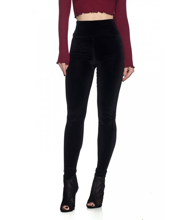 Womens Junior Velvet Waist Leggings