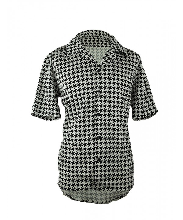 Houndstooth Button Short Sleeve Shirt