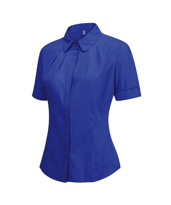 0eea65938ad Women's Cotton Basic Button Down Shirt Short Sleeve Pleated Blouse - Royal  Blue - C5189HE50E4