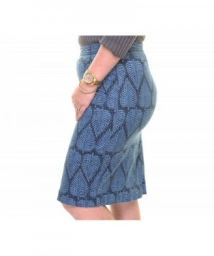 f86f2a8ec Womens Leaf Printed Pencil Skirt - Navy Stone Combo - CS183KY4QKC