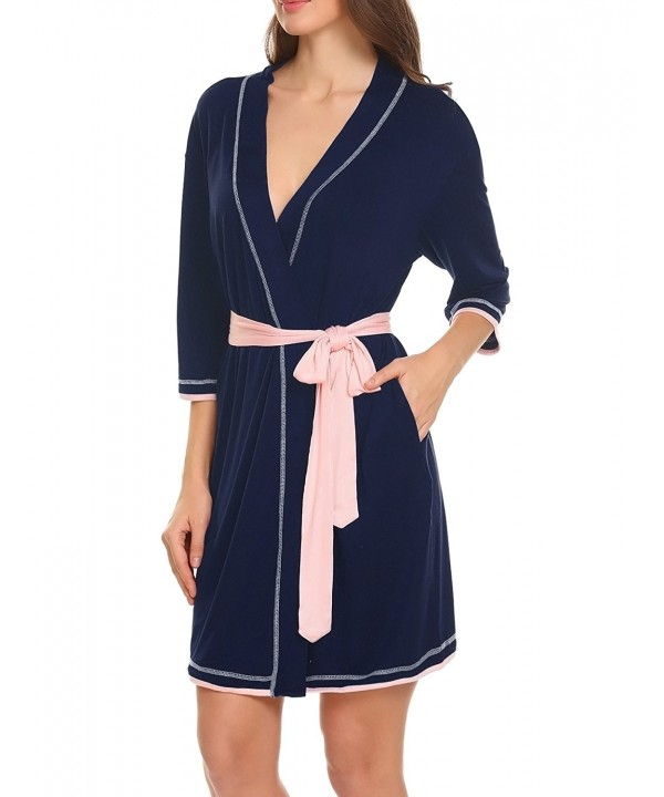 MAXMODA Womens Bathrobe Sleepwear Darkblue