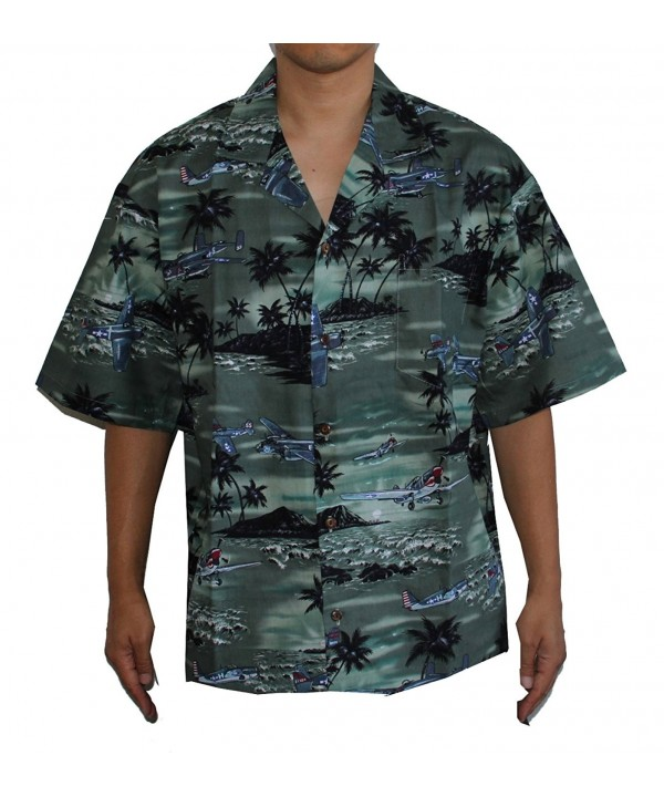 HAWAIIAN MENS AIRPLANE SHIRT GREEN