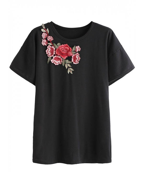 Floerns Womens Flower Embroidered T Shirt