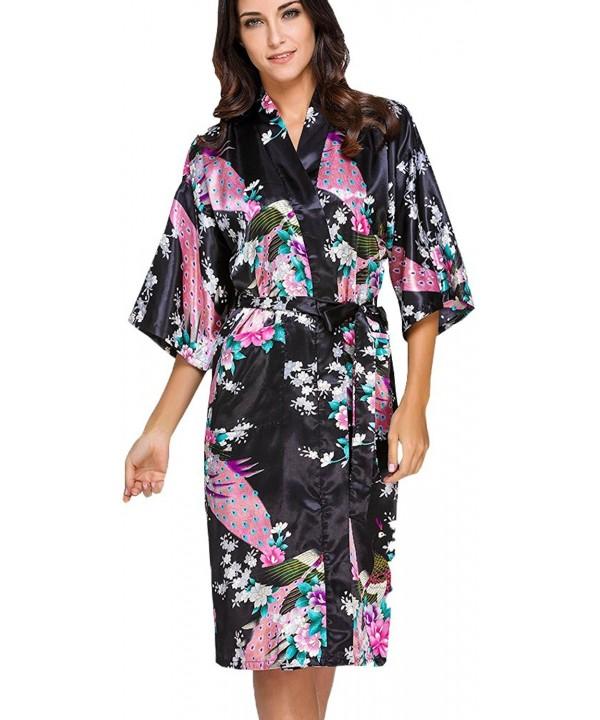 FLYCHEN Peacock Blossoms Nightwear Black 7
