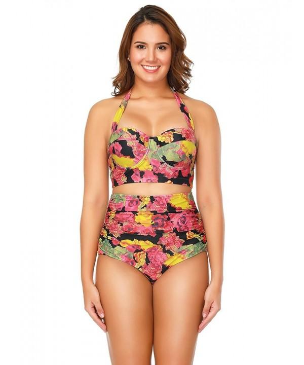 FUUNSO Vintage Retro Floral Bikini