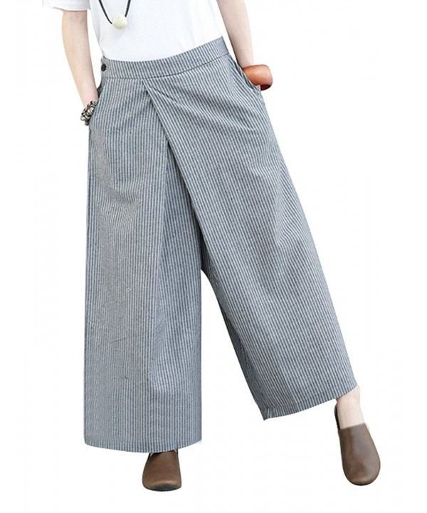 YESNO Casual Cropped Pinstripe Crossing