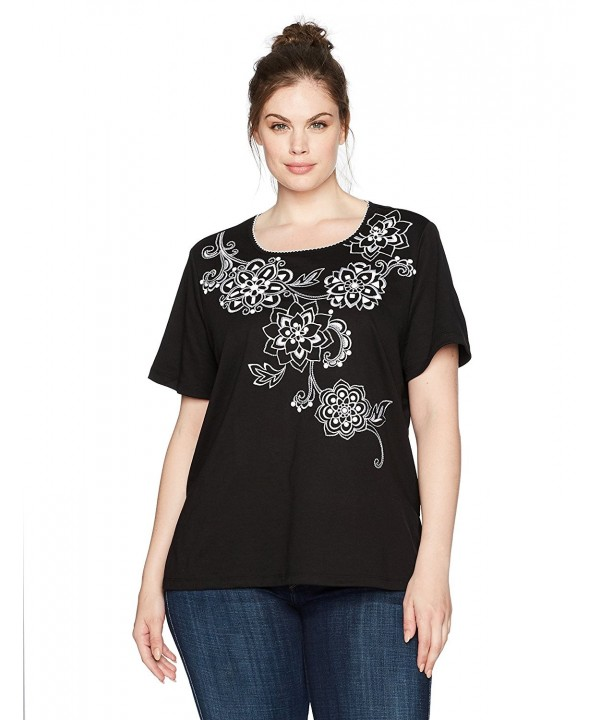 Alfred Dunner Womens Floral Black
