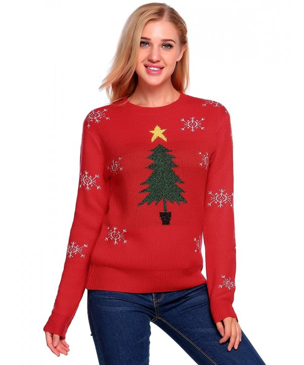 Christmas Sweater Women.Ugly Christmas Sweater Women Long Sleeve Pullover Knitted Sweater Red Cf186s4wxq2