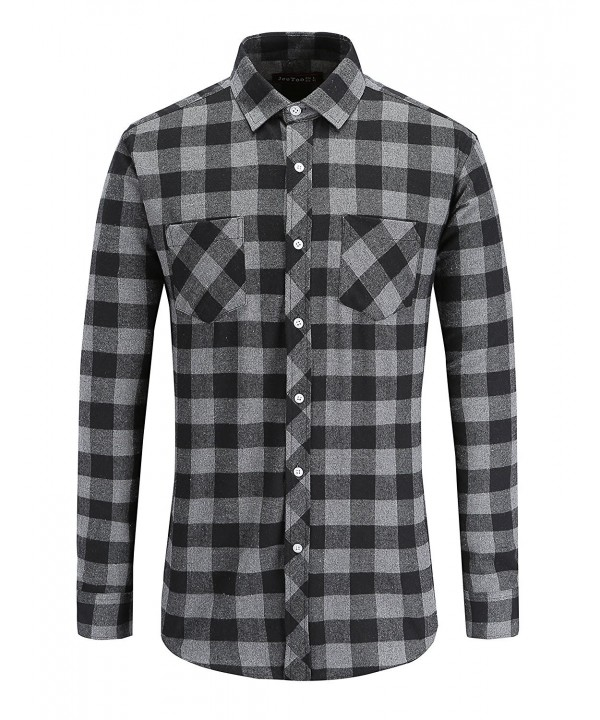 JEETOO Flannel Checkerd Sleeve greyblack