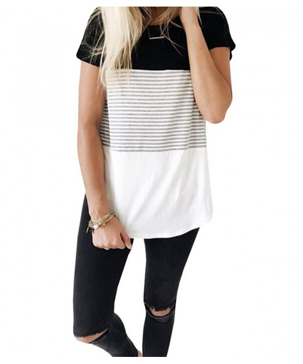 Womens Sleeve Casual Striped Patchwork