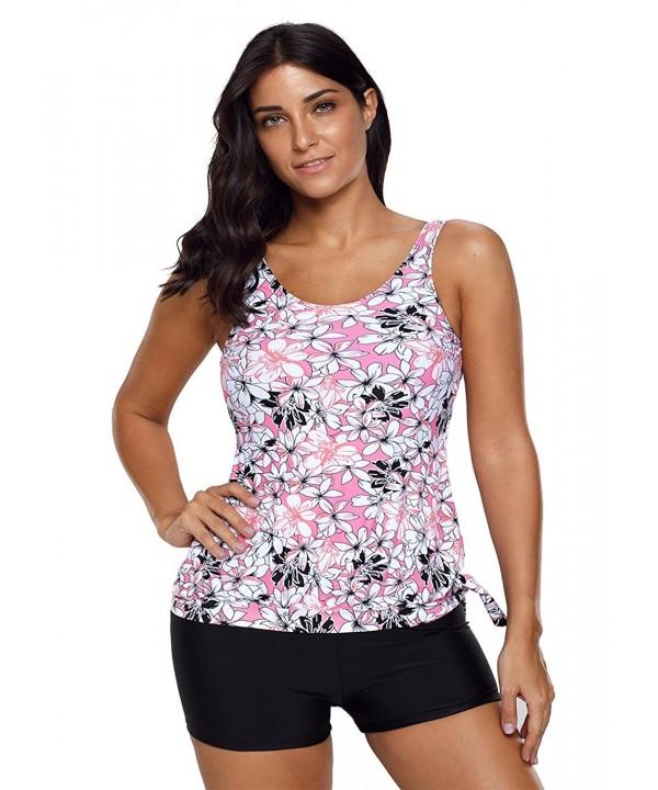 3ebbf57827 Womens Bandeau Printed Blouson Tankini Tops Swimsuit Set Swimwear ...