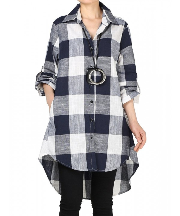 Mordenmiss Womens Sleeve Hi low Plaid