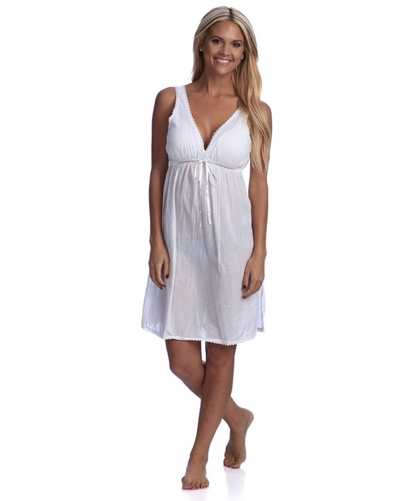 Handmade Women V Neck Trimmed Nightgown