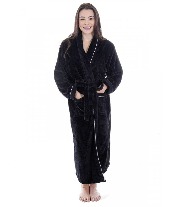 Womens Plush Velvet Bathrobe BLKSIL