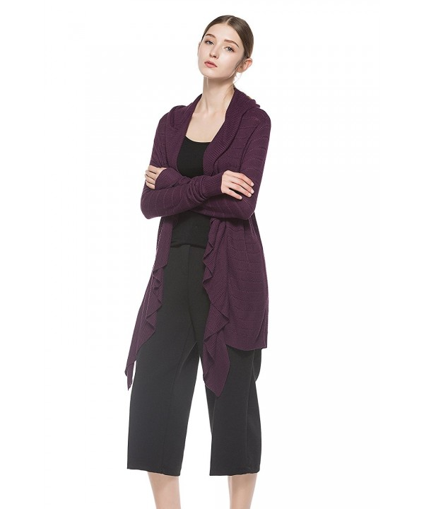KNITBEST Womens Sleeve Cardigan Purple