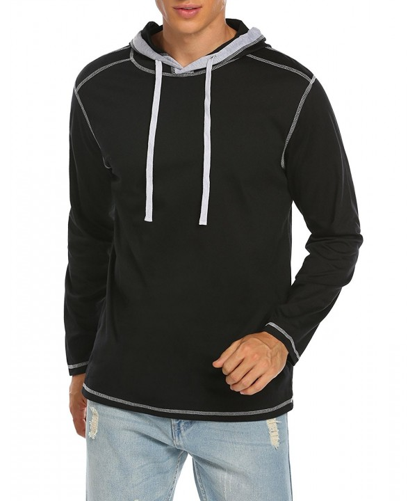 Men's Casual Cotton Pullover Hoodie Sweatshirt Long Sleeve Lightweight Hooded Jacket S XXL Black CE186TYH0R8