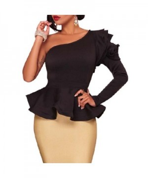 VEAGOO Ruffles Shoulder Off Shoulder Sleeve