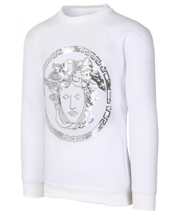 Hipster Sequins Medusa Pullover Sweatshirt