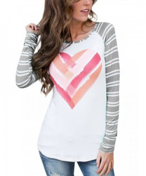 GAMISOTE Valentines Casual Striped Printed