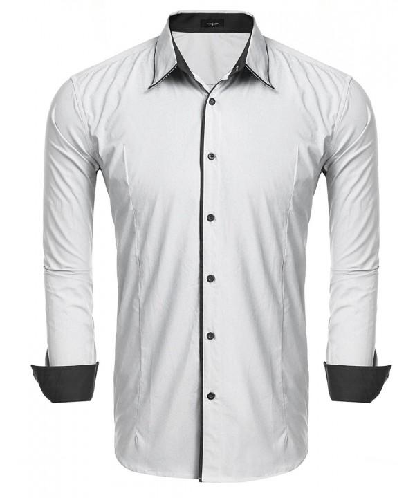 293cc32b897 ... Men s Slim Fit Long Sleeve Oxford Shirt Business Casual Button Down  Dress Shirts - White - C4184K8NZY5. On sale! New. JINIDU Sleeve Oxford  Business ...