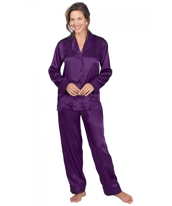 b3bddb550 Women's Satin Pajamas with Button-Up Top and Pants - Purple ...