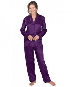 PajamaGram Womens Pajamas Button Up Purple
