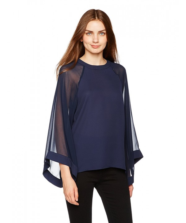 Essentialist Womens Sheer Sleeve Kimono Style X Small